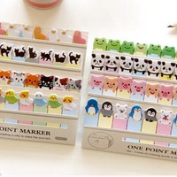 Kawaii Cartoon animal memo paper One point marker Post it sticky notes Memo Pad zakka stationery office supplies School supplies