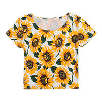 ROMWE Sunflowers Print Slim Midriff T-shirt