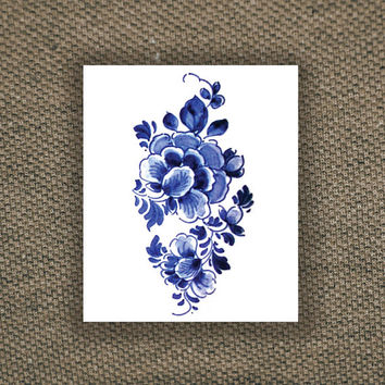 Large floral vintage Dutch 'Delfts Blauw' temporary tattoo, Fashion Tattoo