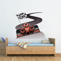 kcik190 Full Color Wall decal car racing formula race speed ring children's bedroom