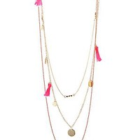 Layered Tassel & Coin Necklace