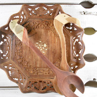 Wooden Plate and Spoons Set , Flamingo and Bird Folk Art , Serving Food
