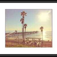 Pier Photography, Beach Photography, San Clemente Pier, California Picture, Palm Trees Photo, Ocean Decor, Coastal Wall Art, 8 x 10 Print