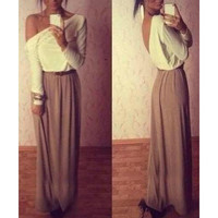 White and Brown One Shoulder Maxi Dress