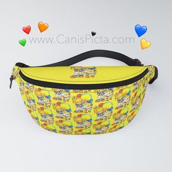 Rainbow Fanny Pack Accessory Bum Bag Travel Trip Purse Carryall Bright Yellow Vintage Retro White Sprite Twink 80s Fandom Balloon Blue Stars