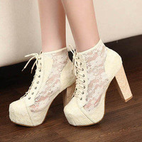 Women's Clear Shoes Lace&PU Leather Platform Block 12cm High Heels Ankle Boots
