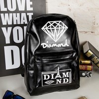 Comfort Diamond Back To School College Stylish PU Bags Backpack [11853847503]