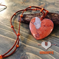 Dreamcatcher red jasper heart necklace, boho hippie fashion
