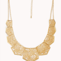 FOREVER 21 Elegant Cutout Bib Necklace Gold One