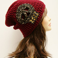 FREE SHIPPING - UNISEX Ultimate Rocker Skull Slouchy Crochet Beanie - Dark Red Maroon with Cheetah Skull and Gold studs #skull #cheetah
