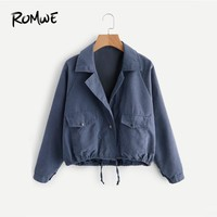 Trendy ROMWE  Drawstring Hem Double Pockets Jacket Women Long Sleeve Casual Pockets Jackets Fashion Regular Blue Jacket AT_94_13