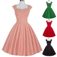 50S 60S Vintage Style Swing Pinup Retro Housewife Evening Party Dress