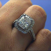 3.80ct F-VS2 Cushion Cut Diamond Engagement Ring 18kt White Gold JEWELFORME BLUE