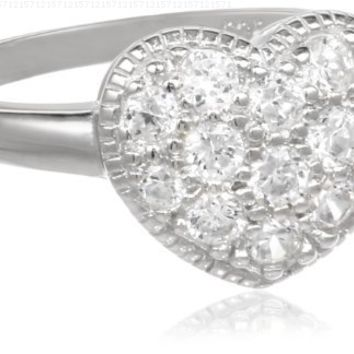 Sterling Silver Cubic Zirconia Heart Ring, Size 6