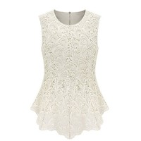 Uoften Women¡¯s Sexy Peplum Lace Shirt Trendy Sleeveless Blouse White L