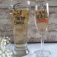 Bride and Groom Personalized Wedding Glasses ~ Champagne Flute and Pilsner Set for That Special Day ~ Keepsake Mementos Disney Inspired