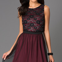 Sleeveless Homecoming Dress with Lace Bodice by Speechless
