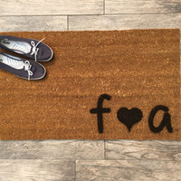 """Welcome Mat Personalized with Initials and Heart - Doormat - 18x30"""" made from natural coir"""