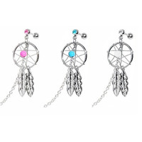 1PC Women Chic Piercing Cartilage Ear Stud Dream Catcher Helix Tragus Cuff Ear Rhinestone Dangle Earring Gift = 1645859780