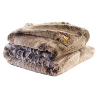 Posh Pelts Chinchilla Faux Fur Acrylic Throw Blanket with Double Sided Frosted-Clove Faux Fur