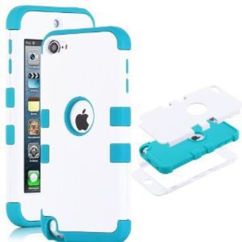 iPod Touch 6 Case,iPod Touch 5 Case ,ULAK 3in1 Anti Slip iPod Touch Case Hybrid with Soft Flexible Inner Silicone Skin Protective Case Cover for Apple iPod Touch 5 6th Generation (White/Blue)