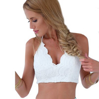 Women Sexy Lace Strappy Sleeveless Backless Bralet Bra Camis Tank Top Short Vest Crop