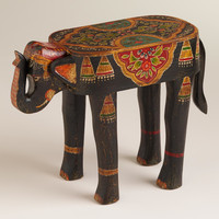 Painted Elephant Wood Accent Table - World Market