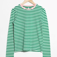& Other Stories | Striped Long Sleeve Tee | Green