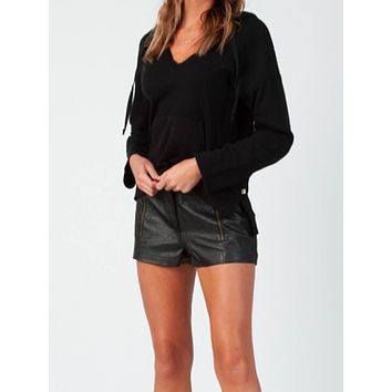 Black Faux Leather Shorts