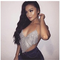 Jenny- Crystal Rhinestone Crop Top