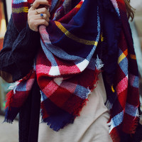 Campus Charm Blanket Scarf - Navy