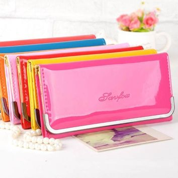 Candy Colors Women Wallet Cards Holder Patent Leather Lady Handbags Moneybsgs Coin Purse Long Clutch Female Casual Wallets Burse