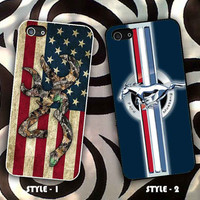 Browning Deer Camo American Flag Design & ford mustang for iPhone and Samsung Case