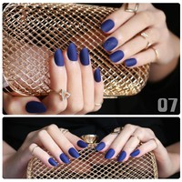 Navy blue Full Nail Tips Comfortable Matte nails false nail end product long round Designs Pure complete Frosted oval fake nail