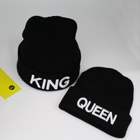 Cool KNB010 Winter Cheap Men and Women Embroidery Knitted Hat Autumn Black King Queen Solid Curled Beanies SkulliesAT_93_12