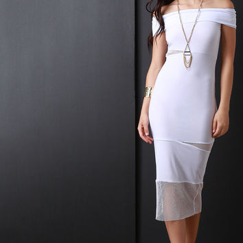 Off The Shoulder Mesh Cut Out Bodycon Midi Dress