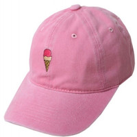 Ice Cream Embroidered Weekend Baseball Hat - Pink