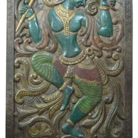 India Carving Door Panel Dancing Lord Krishna Hand Carved Wall Panels 72x 36 - Traditional - Wall Panels - by Mogul Interior