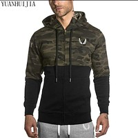 Brand men's clothing 2016 Winter Muscle Brothers RSRV camouflage hoodies  aesthetics bodybuilding fitness hoodies
