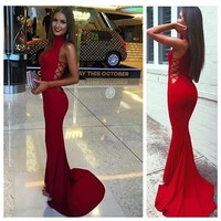 Evening Dresses Red Sheath High Neck Prom Dresses