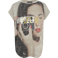 River Island Girls grey camera girl t-shirt