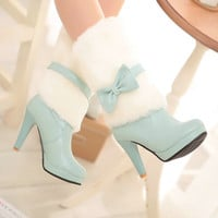 Boho-Chic Faux Fur and Leather Bow Boots : Limited Qualtities