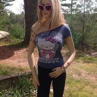 Hand Cut Hello Kitty One Shoulder Weaved Tank Top