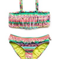 FOREVER 21 GIRLS Neon Fringe Two-Piece (Kids) Coral/Green
