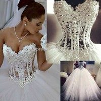 Vestidos De Noiva White Strapless Romantic Wedding Dresses Ball Gown Pearls Bridal Gowns Lace Up Back Tulle Dresses WD1