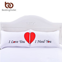 BeddingOutlet Set of 2 LOVE Cute Pillow Cases Red Heart Together Pillowcase Super Soft Pillow Cover for Wedding Valentine's Gift