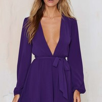 After Party Vintage Dance It Out Plunging Dress - Purple