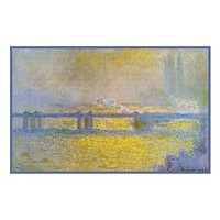 Charing Cross Bridge on an Overcast Day inspired by Claude Monet's impressionist painting Counted Cross Stitch Pattern