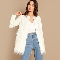 Pearl Embellished Coat Women Jacket Elegant Ladies Outerwear Womens Fashion Patchwork Faux Fur Coats