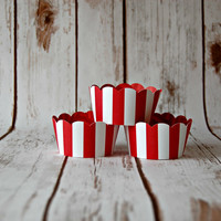 Red and White Striped Cupcake Wrappers, Reversible Cake Wraps,  Circus Cupcake Decoration (set of 6)